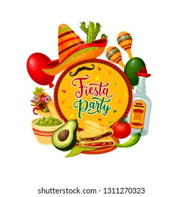 Mexican sombrero, maracas and tequila vector design of Cinco de Mayo fiesta party. Mariachi hat, moustaches and cactus, chilli pepper, tomato and avocado, festive balloons and ethnic ornaments