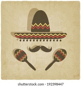 Mexican sombrero old background - vector illustration. eps 10