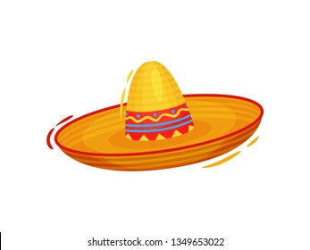 Mexican sombrero on white background. Vector illustration.