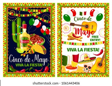 Mexican spring holiday invitation poster for Cinco de Mayo fiesta party template. Festive food, sombrero, chili pepper and jalapeno, maracas, tequila and cactus, guitar and Mexico flag banner design