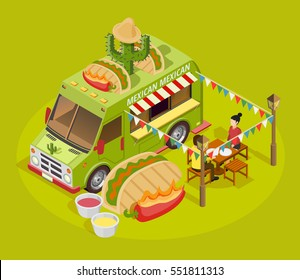 Mexican street food truck isometric advertisement poster with taco cactus and sausen decorated bus green background vector illustration