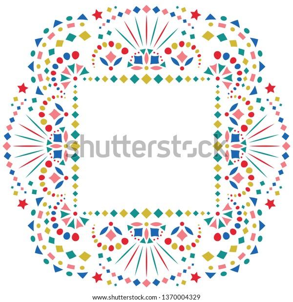 Mexican Style Embroidery Motif Border Card Stock Vector