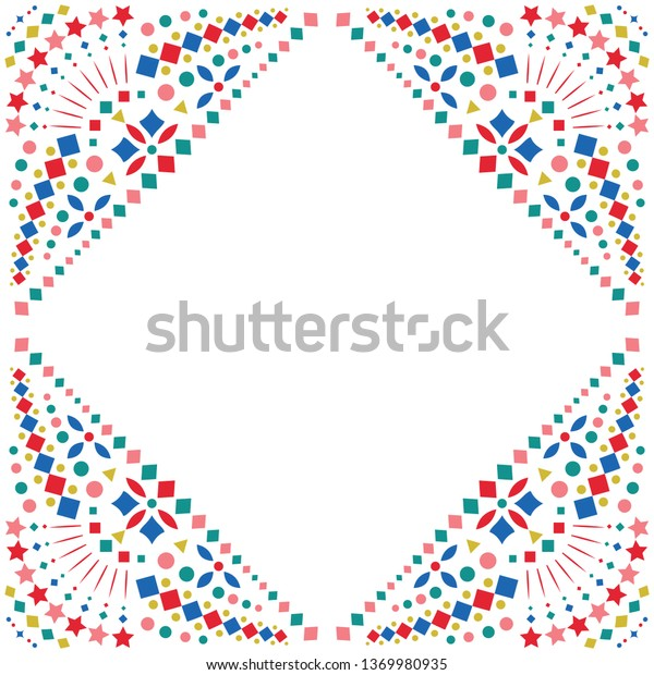 Mexican Style Embroidery Motif Celebration Border Stock