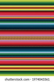 Mexican style vector seamless pattern. Colorful stripe background. Serape design. Ethnic boho fabric illustration. Ornament for Cinco de Mayo fiesta decor.