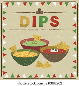 mexican styled frame with bowls of guacamole, salsa and cheese dips and tortilla chips, with transparencies