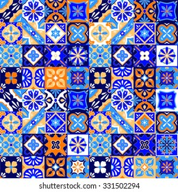 Mexican stylized talavera tiles seamless pattern in blue orange and white, vector