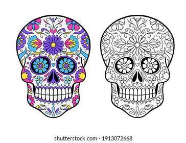 Mexican Sugar Skull coloring page