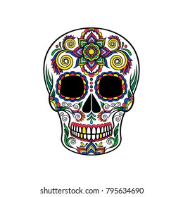 Mexican sugar skull with floral ornament, Day of the death vector Illustration