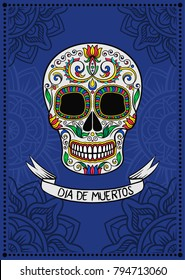 Mexican sugar skull with floral pattern, Dia de Muertos, design element for poster, greeting card vector Illustration