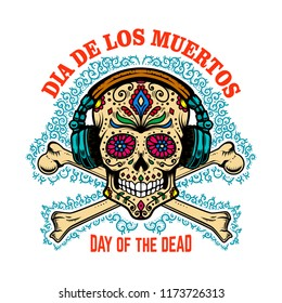 mexican sugar skull with headphones and crossbones. DAY OF THE DEAD. Design element for poster, greeting card, banner, t shirt, flyer, emblem. Vector illustration