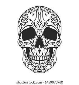 Mexican sugar skull monochrome concept with floral ornament in vintage style isolated vector illustration