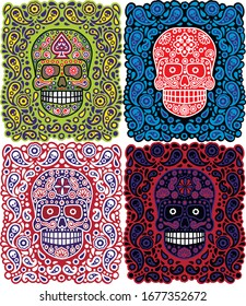 mexican sugar skull with ornaments, design t shirts