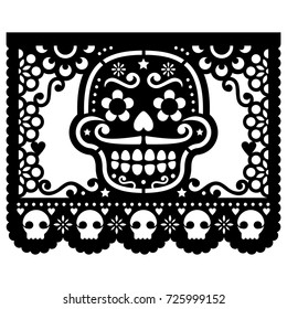Mexican sugar skull vector paper decorations - Papel Picado black design for Halloween, Dia de Los Muertos, Day of the Dead Cut out template with candy skull and flowers, traditional art from Mexico