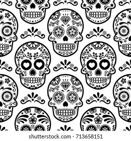 Mexican sugar skull vector seamless pattern, Halloween candy skulls background, Day of the Dead celebration, Calavera design  Black and white wallpaper, repetitive skull wallpaper, Dia de los Muertos