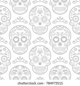 Mexican sugar skull vector seamless pattern, Halloween candy skulls background, Day of the Dead celebration, Calavera design.  Grey and white wallpaper - repetitive skull wallpaper, Dia de los Muertos