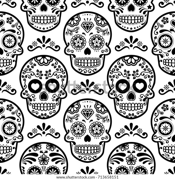 mexican sugar skull vector seamless