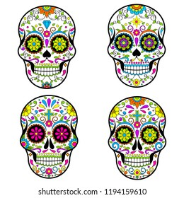 Mexican Sugar skulls, Day of the dead vector illustration on white background