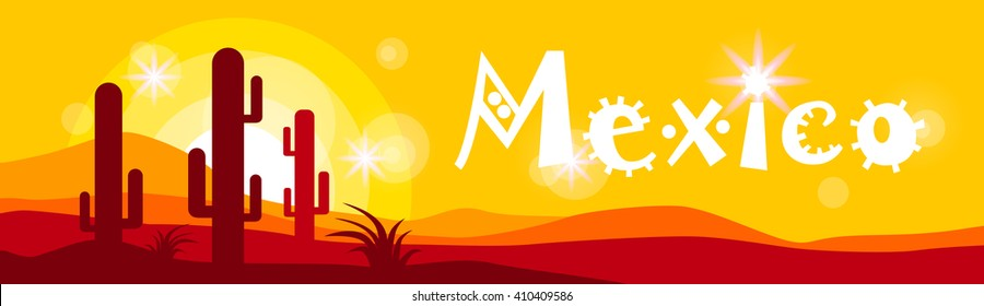 Mexican Sunset Cactus In Desert Mexico Banner Flat Vector Illustration