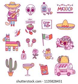 Mexican symbols, vector illustrations set