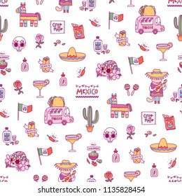 Mexican symbols vector seamless pattern