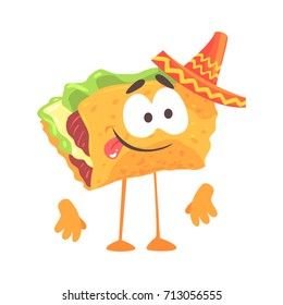 Mexican taco character with meat and vegetables, traditional humanized food in traditional clothes vector Illustration