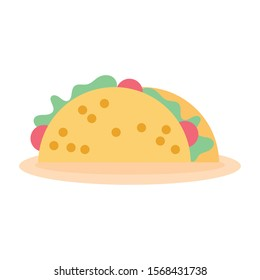 mexican taco food fill style icon vector illustration design