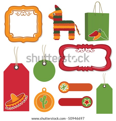Mexican Tags Tabs Frames Bag Motifs Stock Vector (Royalty Free ...