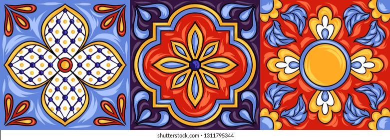 Mexican talavera ceramic tile pattern. Ethnic folk ornament. Italian pottery, portuguese azulejo or spanish majolica.