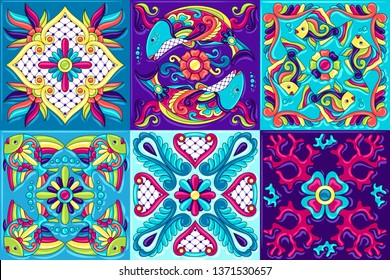 Mexican talavera ceramic tile pattern with fishes. Traditional decorative objects. Ethnic folk ornament. Decoration with ornamental flowers.