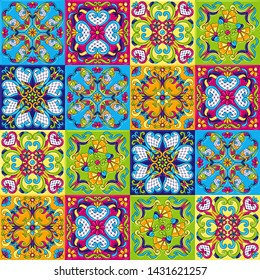Mexican talavera ceramic tile pattern. Traditional decorative objects. Ethnic folk ornament. Decoration with ornamental flowers.