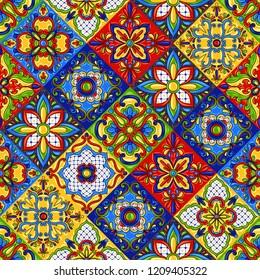 Mexican talavera ceramic tile seamless pattern. Ethnic folk ornament. Italian pottery, portuguese azulejo or spanish majolica.