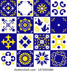 Mexican talavera pattern. Ceramic tiles with flower, leaves and bird ornaments in traditional style from Puebla. Mexico floral mosaic in blue, yellow and white. Folk art design.