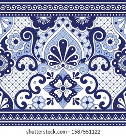 Mexican Talavera Poblana vector seamless pattern, repetitive background inspired by traditional pottery and ceramics design from Mexico in navy blue.  Traditional ornament inspired by Mexican art