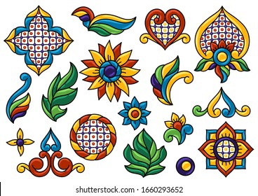 Mexican talavera seamless pattern. Decoration with ornamental flowers. Traditional tile decorative objects. Ethnic folk ornament.