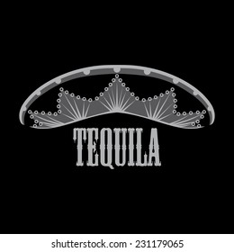 Mexican tequila in a hat with ornament