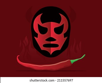 Mexican themed background including peppers and lucha libre mask/Vector Mexican Theme
