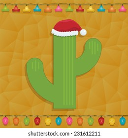 mexican themed christmas decoration with cactus and fairy lights