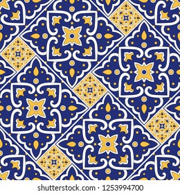 Mexican tile pattern seamless vector with floral motifs. Portuguese azulejos, mexico talavera, italian sicily majolica, moroccan, spanish ceramic. Mosaic texture for kitchen wall or bathroom floor.