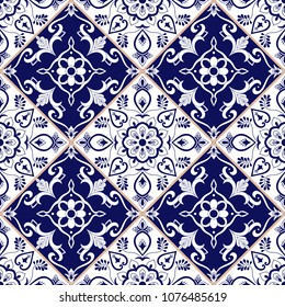 Mexican tile pattern vector with blue and white flower ornaments. Portuguese azulejo, puebla talavera, spanish or italian sicily majolica. Tiled texture for kitchen or bathroom flooring ceramic.