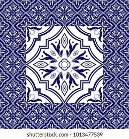 Mexican tile pattern vector ornaments. Flower big texture element in center with frame. Portuguese azulejo, puebla talavera, spanish majolica, italian mosaic, chinese porcelain, delft dutch ceramic.