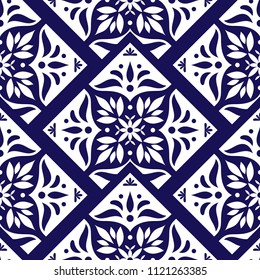 Mexican tile pattern vector seamless with scale floral ornament. Portuguese azulejo, puebla talavera, delft dutch, spanish mosaic or italian majolica. Tiled background for kitchen or bathroom ceramic.