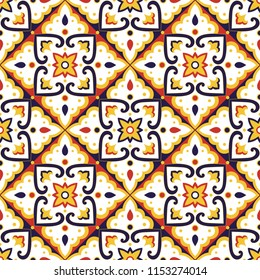 Mexican tile pattern vector seamless with vintage ornament. Portuguese azulejos, puebla talavera, spanish ceramic, italian sicily majolica. Background for kitchen wall or bathroom mosaic floor.