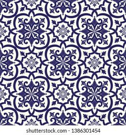 Mexican tile pattern vector seamless with floral vintage ornaments. Portuguese azulejos, mexico talavera, italian sicily or spanish majolica motifs. Ceramic texture for kitchen floor or bathroom wall.