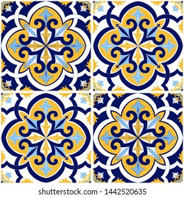 Mexican tile pattern vector seamless with flowers motif. Sicily italian majolica, portugal azulejo, puebla talavera, venetian and spanish ceramic. Vintage background for kitchen wall or bathroom floor