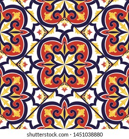 Mexican tile pattern vector seamless with vintage parquet motifs. Portuguese azulejos, talavera, spanish ceramic or italian sicily majolica. Background for mosaic kitchen wallpaper or bathroom floor.