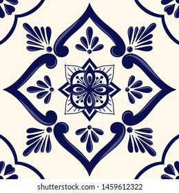 Mexican tile pattern vector seamless with ceramic floral ornament. Portuguese azulejos, puebla talavera, italian sicily or spanish majolica. Mosaic texture for kitchen wall or bathroom floor.