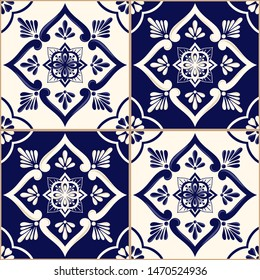 Mexican tile pattern vector seamless with blue and white ornament. Portuguese azulejos, talavera, spanish, sicily majolica or delft dutch ceramic. Vintage texture for kitchen wall or bathroom floor.