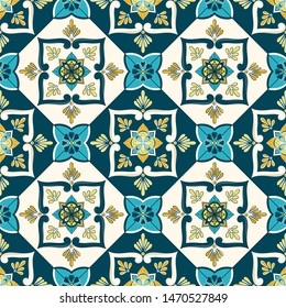 Mexican tile pattern vector seamless with vintage ceramic floral motifs. Portugal azulejos, puebla talavera, spanish, sicily majolica or moroccan ornament. Green blue texture for wall or floor.