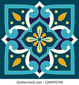 Mexican tile pattern vector with vintage ornaments motifs. Mexico talavera print. Portuguese azulejos, italian sicily majolica, spanish ceramic. Mosaic texture for bathroom or kitchen wallpaper.
