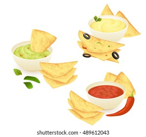 Mexican tortilla chips nachos with different sauces: salsa, guacamole and cheese. Isolated on white background